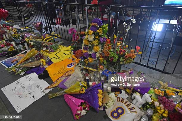 A photo of the Kobe Bryant memorial outside Staples Center in Los Angeles California on January 27 2020 at NOTE TO USER User expressly acknowledges...