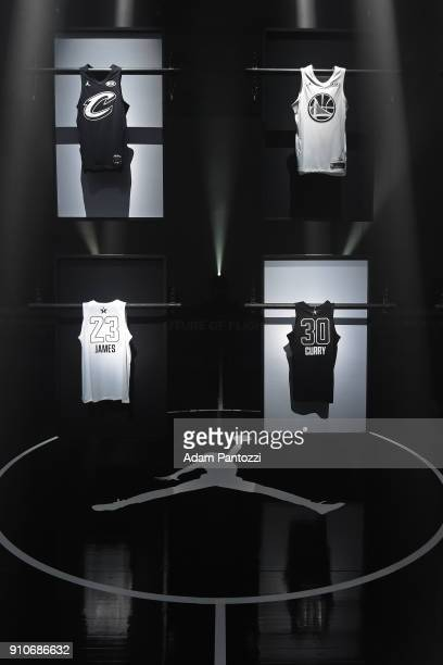 A photo of the LeBron James and Stephen Curry Brand Jordan NBA AllStar Uniforms on January 25 2018 at CBS Studios in Studio City California NOTE TO...