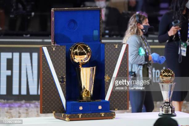 Photo of the Louis Vuitton Travel case for the Larry O'Brien Trophy on display on court after the Los Angeles Lakers win Game Six of the NBA Finals...