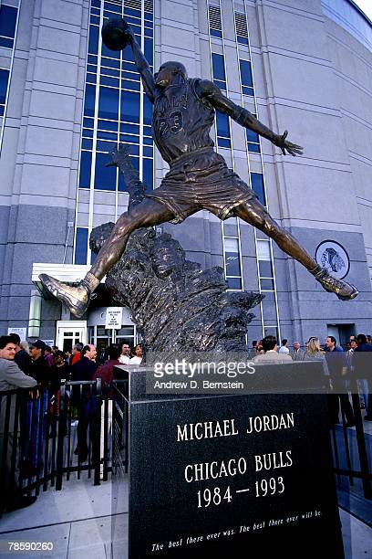 Photo of the Michael Jordan tribute statue outside the United Center prior to Game One of the 1996 NBA Finals between the Chicago Bulls and the...