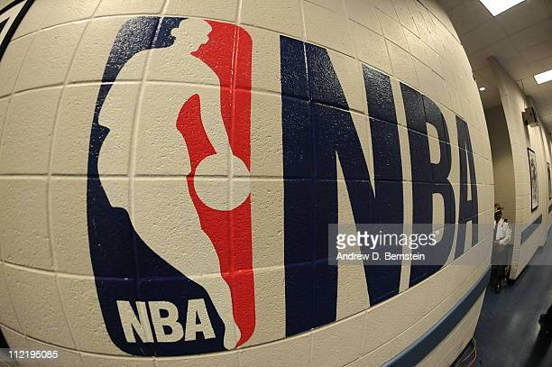 A photo of the NBA logo is displayed on the wall on March 8 2011 at Philips Arena in Atlanta Georgia NOTE TO USER User expressly acknowledges and...