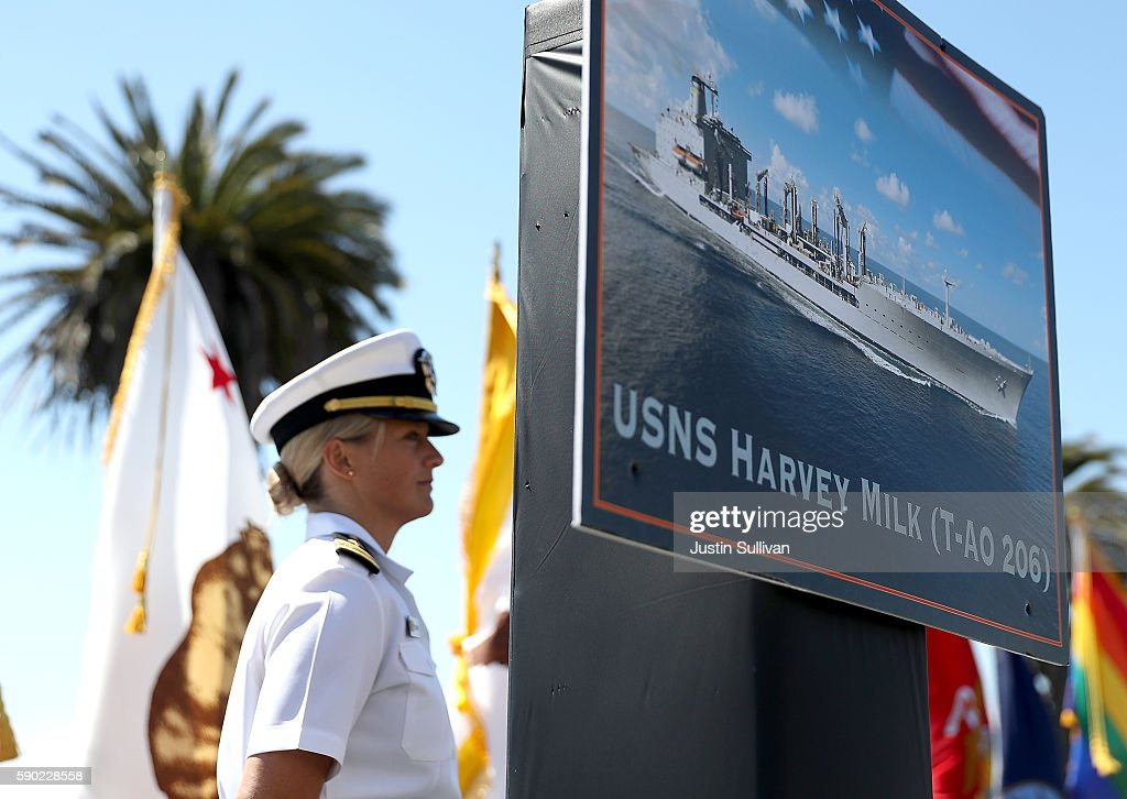 A photo of the new USNS Harvey Milk is displayed during a ship naming ceremony on August 16, 2016 in San Francisco, California. U.S. Navy officials announced plans to name a new replenishment oiler ship after slain civil rights leader Harvey Milk. Six new ships in the class with be named after civil and human rights leaders.
