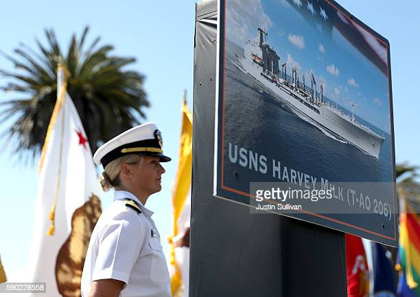 A photo of the new USNS Harvey Milk is displayed during a ship naming ceremony on August 16 2016 in San Francisco California US Navy officials...
