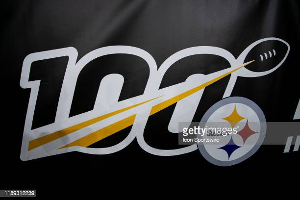 A photo of the NFL 100 Steelers logo during the NFL football game between the Buffalo Bills and the Pittsburgh Steelers on December 15 2019 at Heinz...