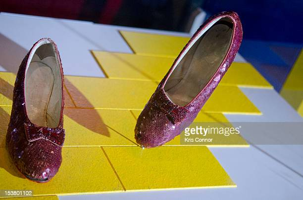 A photo of the Ruby Slippers from 'The Wizard Of Oz' are taken off view from the Smithsonian's National Museum of American History to appear in the...
