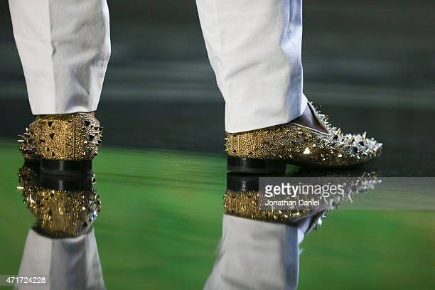 A photo of the shoes that Dante Fowler Jr of the Florida Gators is wearing after being chosen overall by the Jacksonville Jaguars during the first...