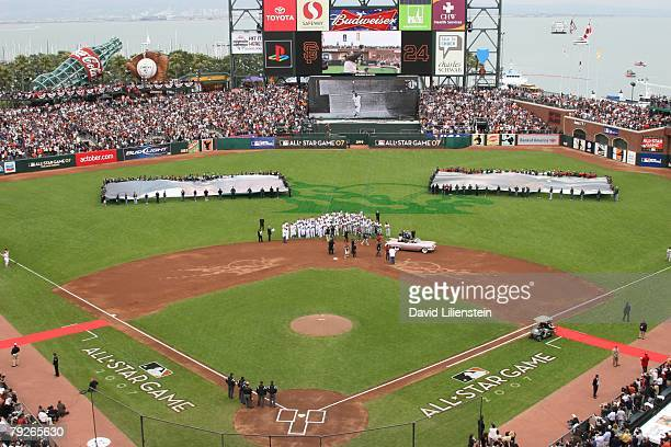 Photo of the stadium during the pre-game ceremony before the 78th Major League Baseball All-Star Game at AT&T Park in San Francisco, California on...