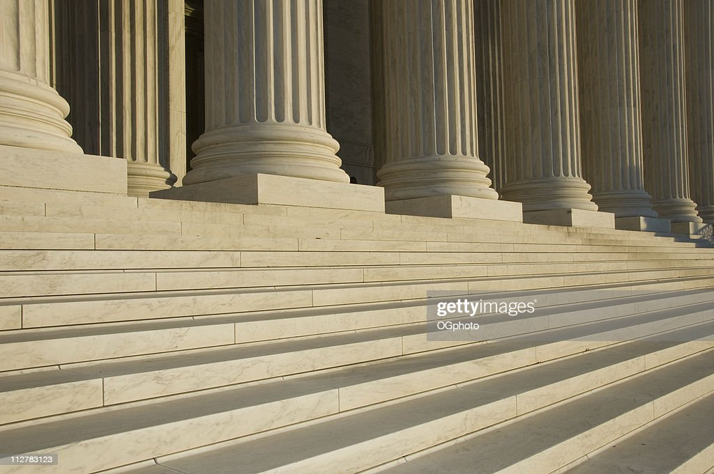 Photo of the steps and columns at the U.S. Supreme Court : Stock Photo