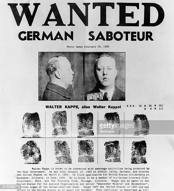A photo of the Wanted circular issued by the Federal Bureau of Investigation as it began a countrywide manhunt for three Nazi saboteurs and spies...