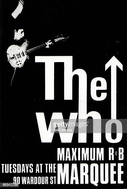 MARQUEE Photo of The Who and Pete TOWNSHEND and MEMORABILIA and CONCERT POSTERS The Who Maximum RB poster advertising the band's early residency at...