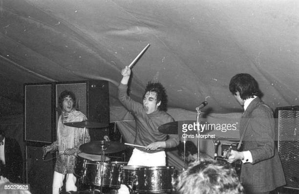 Photo of The Who LR Roger Daltrey Keith Moon Pete Townshend performing live onstage at Christ College Summer Ball