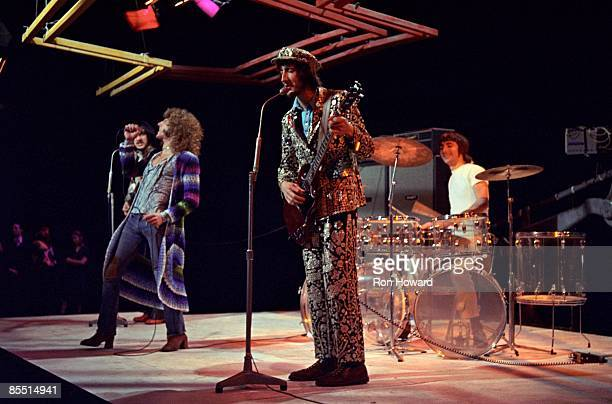 CENTRE Photo of The Who Roger Daltrey Pete Townshend and Keith Moon drums playing seethrough acrylic Zickos kit performing on 'Into '71' TV show