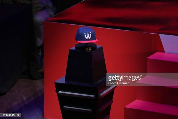 Photo of the Wizards District Gaming hat during the NBA 2K League Draft on February 22 2020 at Terminal 5 in New York New York NOTE TO USER User...