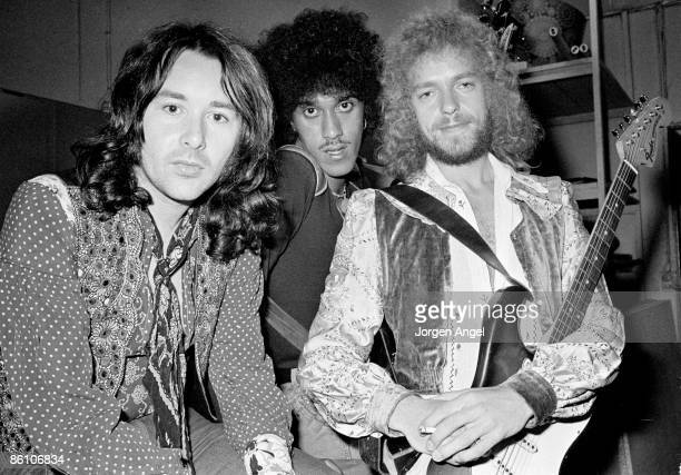 Photo of THIN LIZZY Thin Lizzy Brian Downey Phil Lynott Eric Bell Sept 9 1973 Copenhagen Denmark