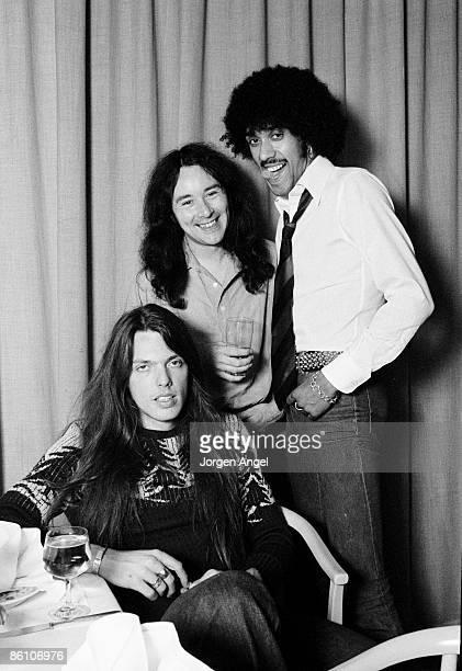 Photo of THIN LIZZY Thin Lizzy Scott Gorham Brian Downey and Phil Lynott Brian Robertson was absent Copenhagen Denmark 1977