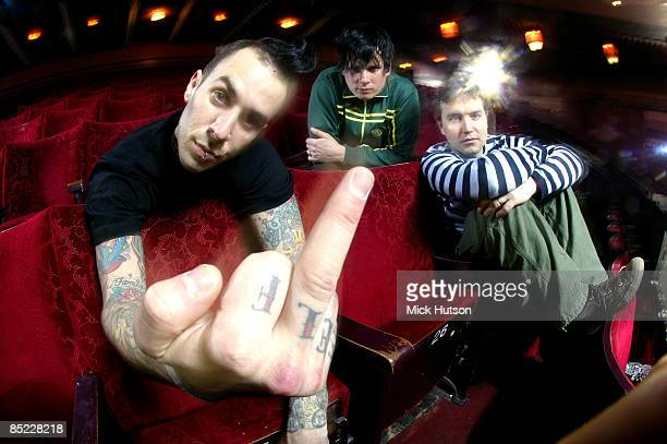 Photo of Tom DELONGE and BLINK 182 and Mark HOPPUS and Travis BARKER; Posed group portrait