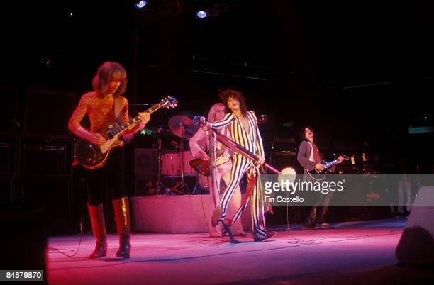 Photo of Tom HAMILTON and Joe PERRY and Brad WHITFORD and AEROSMITH and Steven TYLER and Joey KRAMER LR Brad Whitford Joey Kramer Tom Hamilton Steven...