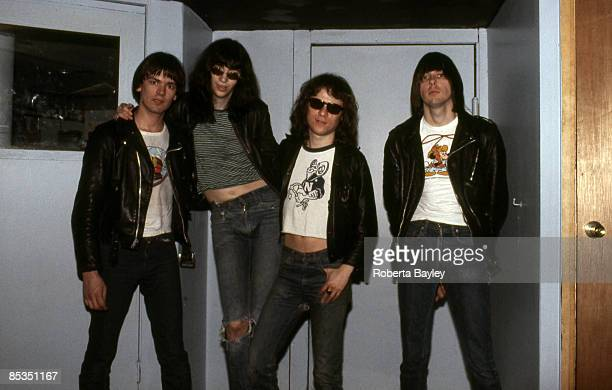 Photo of Tommy RAMONE and Joey RAMONE and Dee Dee RAMONE and RAMONES Group portrait LR Dee Dee Ramone Joey Ramone Tommy Ramone and Johnny Ramone