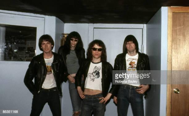 Photo of Tommy RAMONE and Joey RAMONE and Dee Dee RAMONE and RAMONES; Group portrait L-R Dee Dee Ramone, Joey Ramone, Tommy Ramone and Johnny Ramone