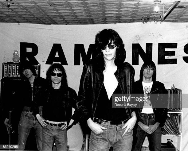 Photo of Tommy RAMONE and RAMONES and Dee Dee RAMONE and Johnny RAMONE LR Dee Dee Ramone Tommy Ramone Joey Ramone Johnny Ramone