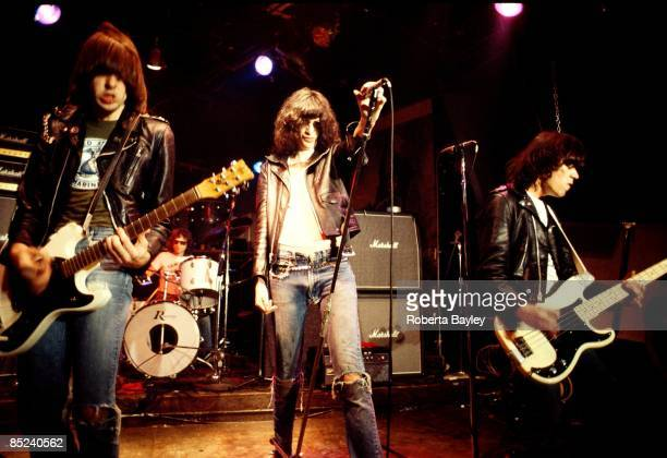 Photo of Tommy RAMONE and RAMONES and Johnny RAMONE and Joey RAMONE; L-R. Johnny Ramone,Tommy Ramone, Joey Ramone, Dee Dee Ramone