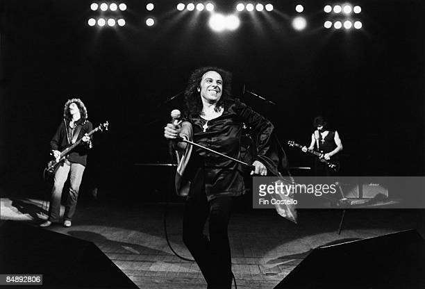 Photo of Tony IOMMI and Geezer BUTLER and Ronnie DIO and BLACK SABBATH LR Geezer Butler Ronnie Dio Tony Iommi performing live onstage