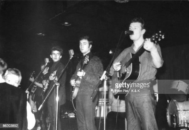 Photo of Tony SHERIDAN and BEATLES LR George Harrison John Lennon and Tony Sheridan performing live onstage during Beatles first Hamburg trip Photo...
