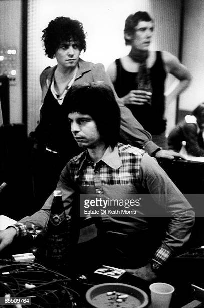 Photo of Tony VISCONTI and Marc BOLAN and T REX; with Marc Bolan, in the recording studio