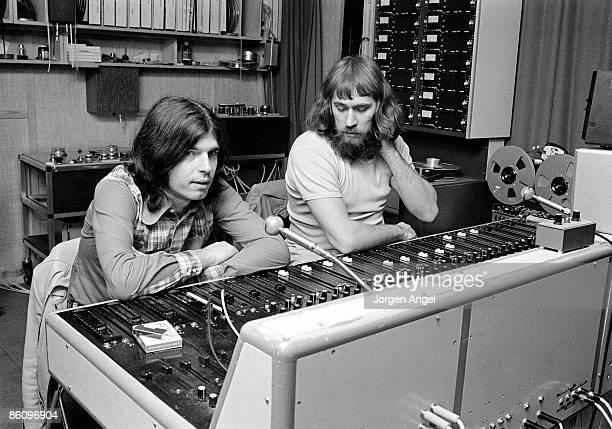 Photo of Tony VISCONTI; with engineer Freddy Hansson, recording T Rex at Rosenberg Studios