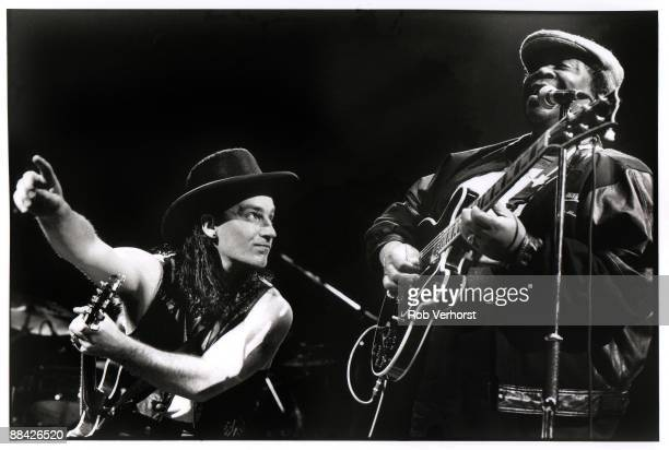 AHOY Photo of U2 and BONO and BB KING Bono and BB King performing on stage Love Town Tour