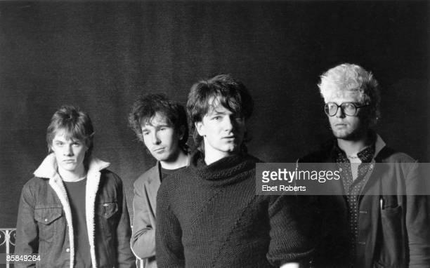 Photo of U2 LR Larry Mullen Jnr The Edge Bono Adam Clayton posed studio group shot