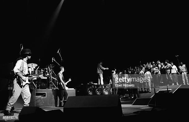 Photo of U2 LR The Edge Adam Clayton Bono performing live onstage on The Joshua Tree tour
