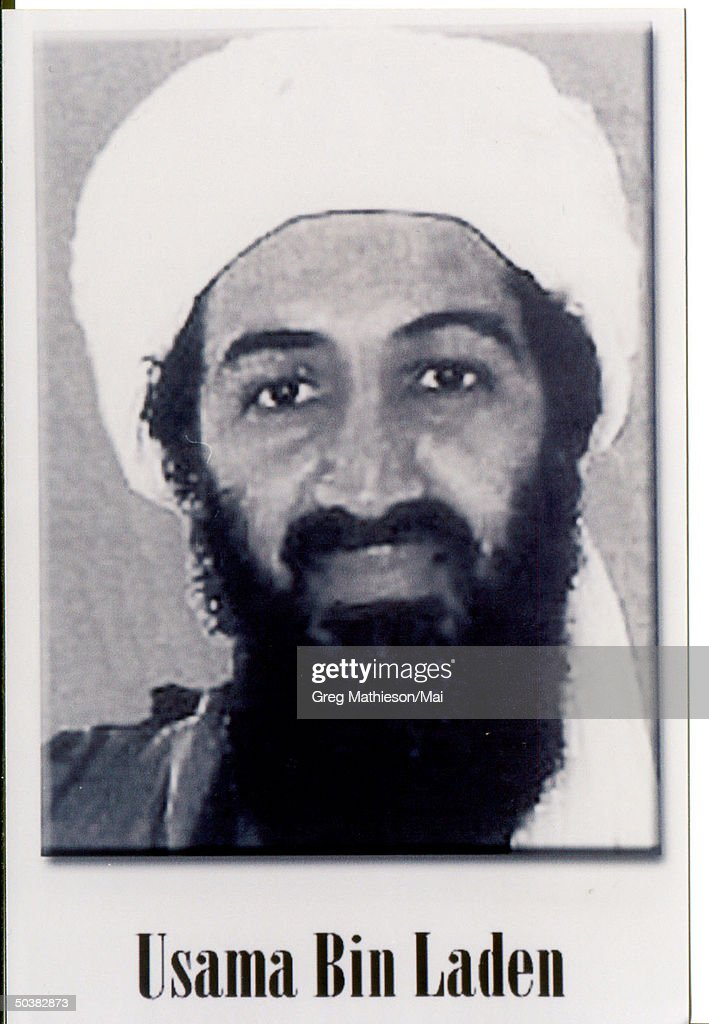 Photo of Usama Bin Laden released by the FBI and President Bush during a press conference to announce the Most Wanted Terrorist list.