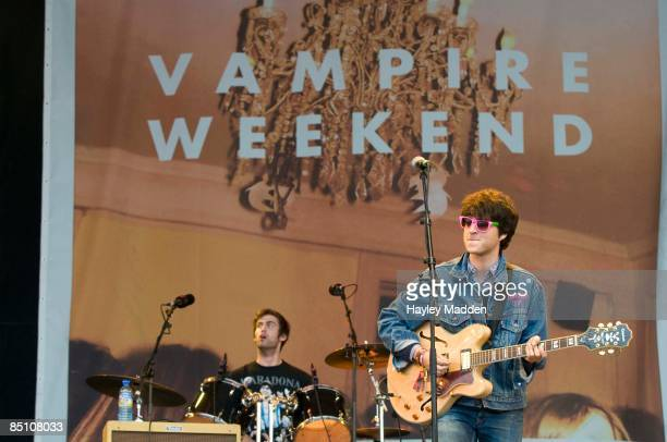 FESTIVAL Photo of VAMPIRE WEEKEND and Ezra KOENIG and Chris TOMSON Ezra Koenig and Chris Tomson performing on stage