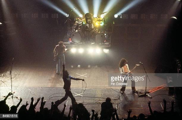 THEATRE Photo of VAN HALEN and Michael ANTHONY and David Lee ROTH and Alex VAN HALEN and Eddie VAN HALEN Group performing on stage LR Michael Anthony...