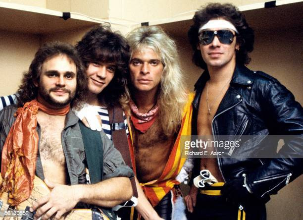 Photo of VAN HALEN and Michael ANTHONY and Eddie VAN HALEN and David Lee ROTH and Alex VAN HALEN Posed group portrait backstage LR Michael Anthony...