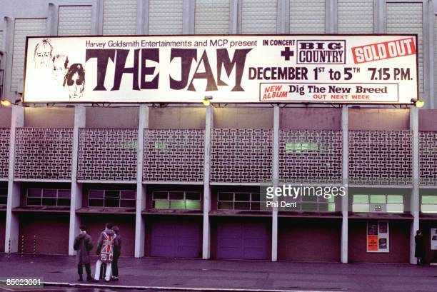 ARENA Photo of VENUES and BILLBOARDS and JAM Hoarding outside Wembley Arena advertising The Jam's 5 nights of concerts in December 1982