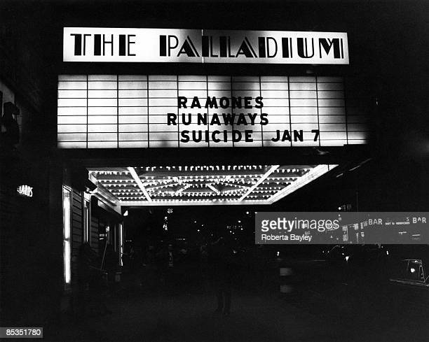 PALLADIUM Photo of VENUES Sign showing The Ramones The Runaways and Suicide playing at the Palladium