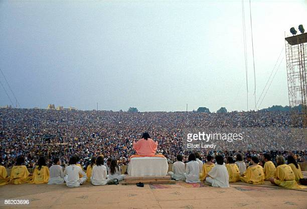 FESTIVAL Photo of VIEW FROM BACK OF STAGE and Swami SATCHIDINANDA and WOODSTOCK Swami Satchidinanda