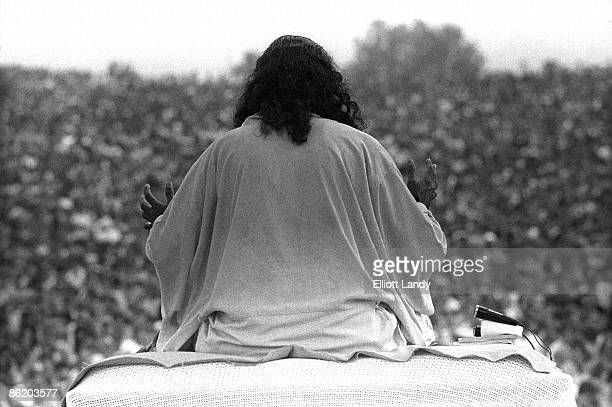 FESTIVAL Photo of VIEW FROM BACK OF STAGE and WOODSTOCK and Swami SATCHIDINANDA and 60's STYLE Swami Satchidinanda