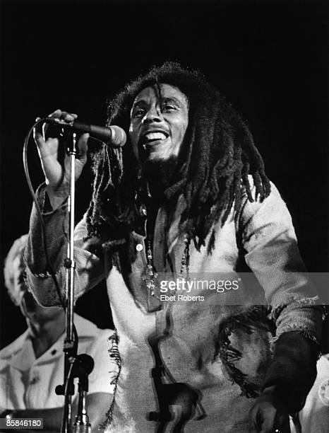 JAMAICA APRIL 22 Photo of WAILERS and Bob MARLEY Bob Marley performing live on stage at the One Love Peace concert at the National Stadium Kingston
