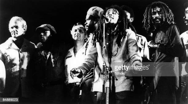 Photo of WAILERS and Bob MARLEY Picture taken during the One Love Peace Concert in Kingston Jamaica Picture also shows Jamaican Prime Minister...