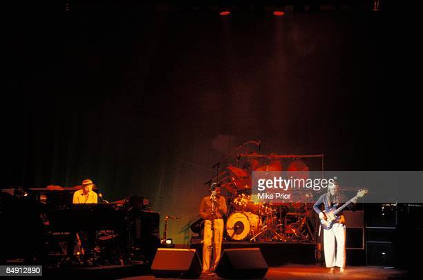 Photo of WEATHER REPORT, L-R: Joe Zawinul, Wayne Shorter, Peter Erskine, Jaco Pastorius - performing live onstage