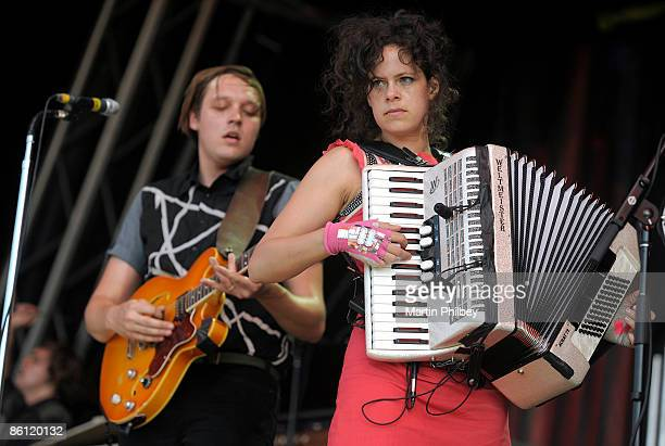 OUT Photo of Win BUTLER and ARCADE FIRE and Regine CHASSAGNE Win Butler and Regine Chassagne performing live onstage at Flemington Racecourse