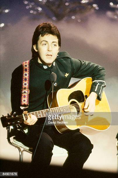 CENTRE Photo of WINGS and Paul McCARTNEY Paul McCartney performing on the Mike Yarwood Christmas Special tv show
