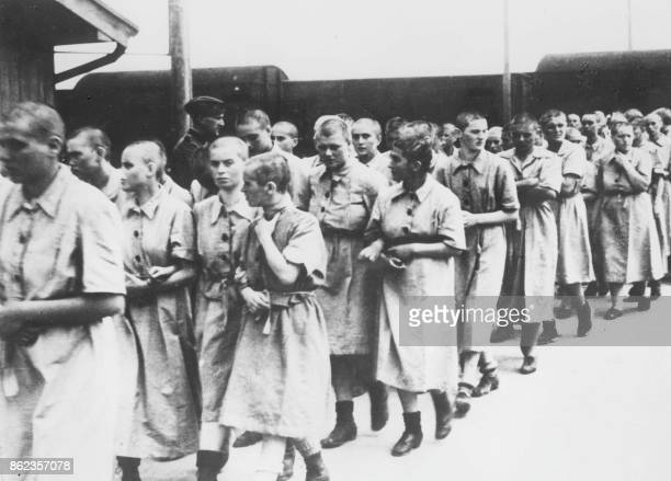 Photo of women deemed fit for work, taken in May 1944 in the Auschwitz-Birkenau extermination camp, in Oswiecim, after the camp absorption process....