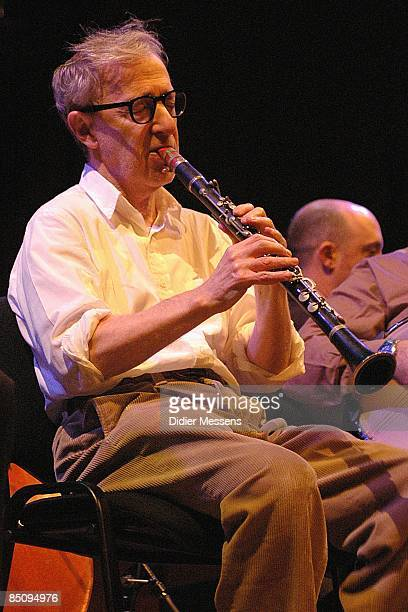 Photo of Woody ALLEN Woody Allen performing on stage with his New Orleans Jazz Band playing clarinet
