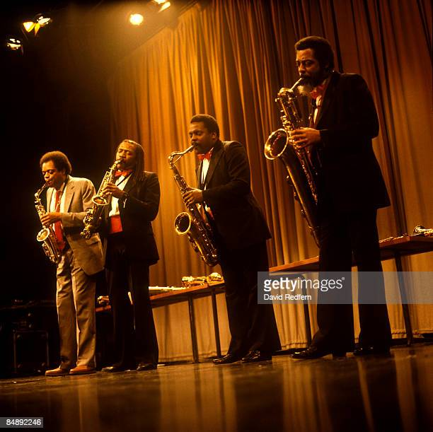 Photo of WORLD SAXOPHONE QUARTET LR Julius Hemphill Oliver Lake David Murray Hamiet Bluiett performing live onstage at Camden Jazz Festival