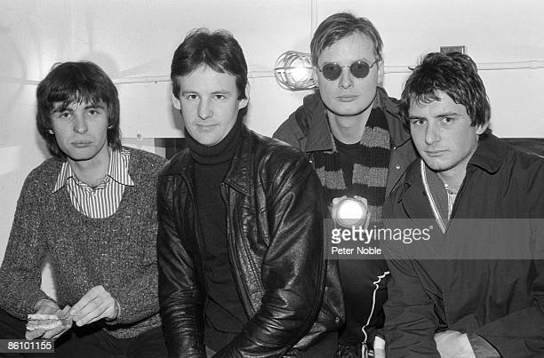 Photo of XTC and Colin MOULDING and Dave GREGORY and Andy PARTRIDGE and Terry CHAMBERS Posed group portrait LR Colin Moulding Dave Gregory Andy...