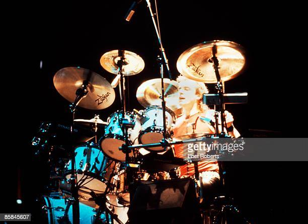 Photo of YES and Alan WHITE Alan White performing live onstage playing drums